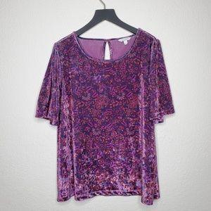 Lucky Brand Purple Floral Blooms Velvet Top